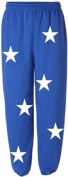 Star Power Royal Blue Sweatpants with White Stars