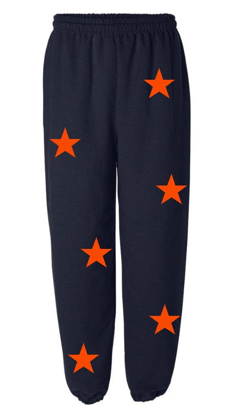 Star Power Navy Sweatpants with Orange Stars