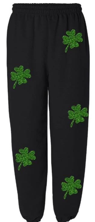 Glitter Shamrocks Black Sweatpants