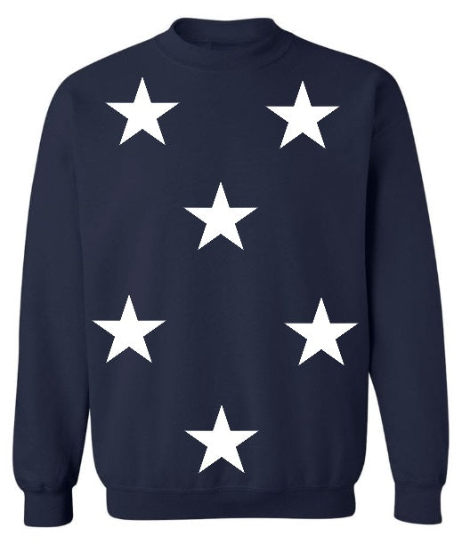 Star Power Navy Crew Neck Sweatshirt with White Stars