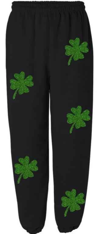 Green Glitter Shamrocks Sweatpants