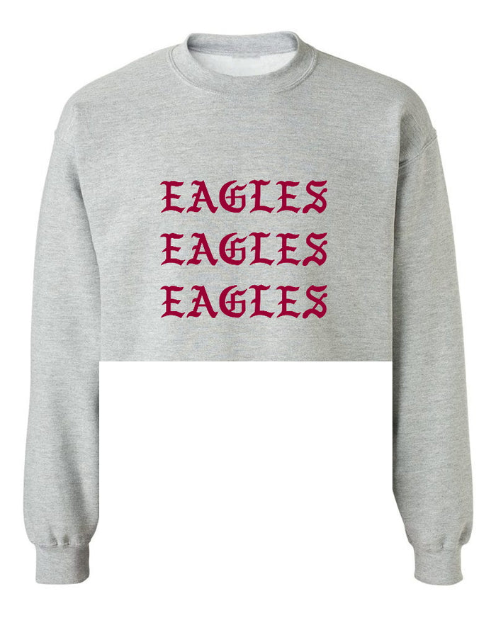 Eagles Old English Raw Hem Cropped Sweatshirt