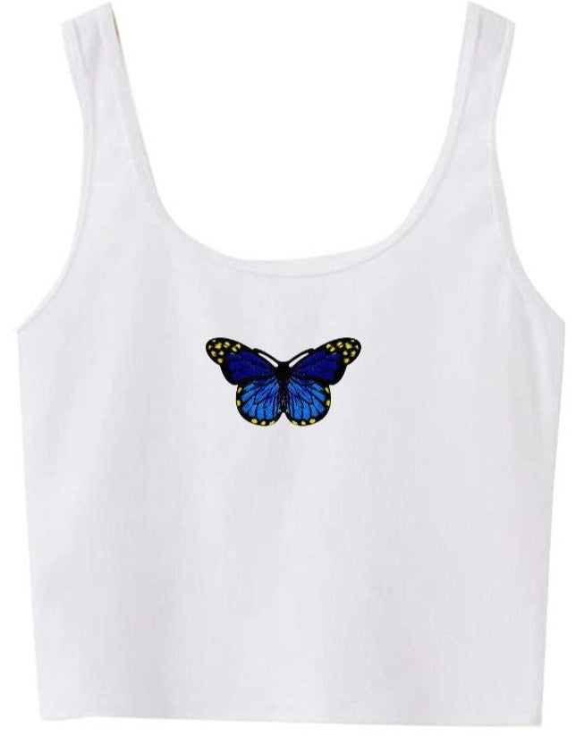 Butterfly Patch Cropped Tank