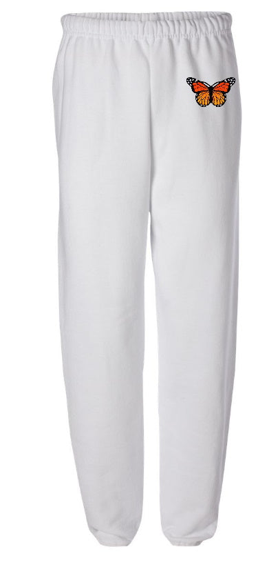 Butterfly Patch White Sweatpants