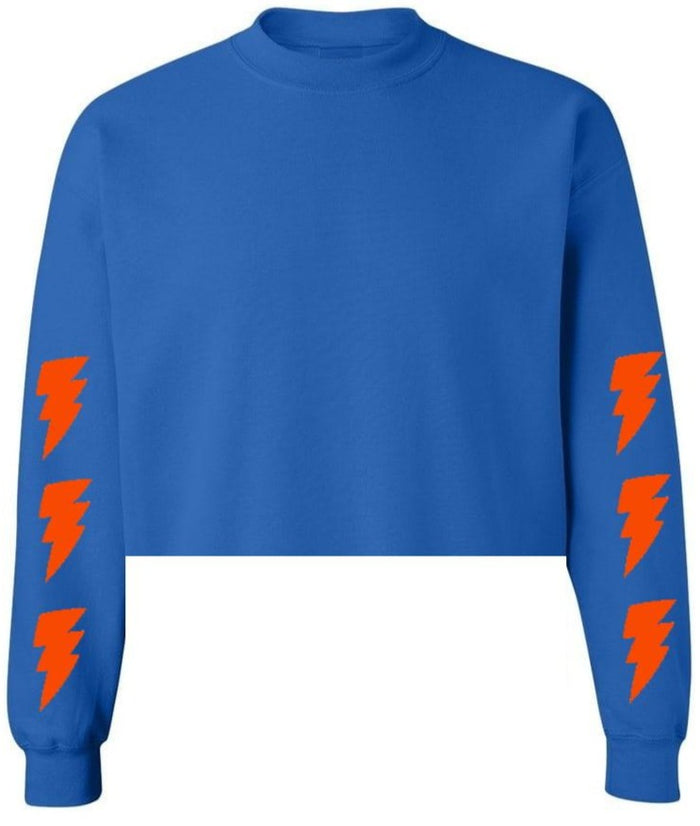 Lightning Bolts Royal Blue Raw Hem Cropped Sweatshirt with Orange Bolts