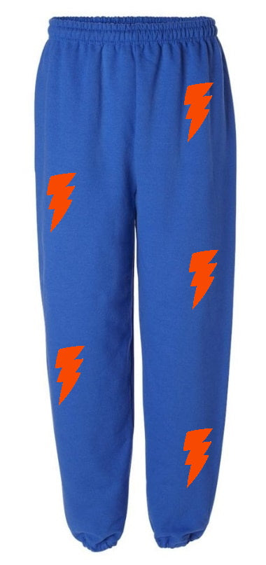 Lightning Bolts Royal Blue Sweatpants with Orange Bolts