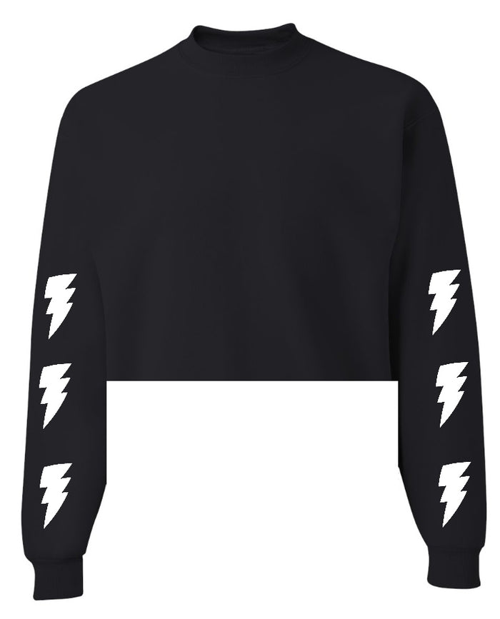 Lightning Bolt Black Raw Hem Cropped Sweatshirt with White Bolts