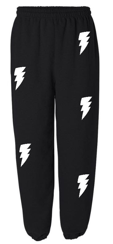 Lightning Bolts Black Sweatpants with White Bolts