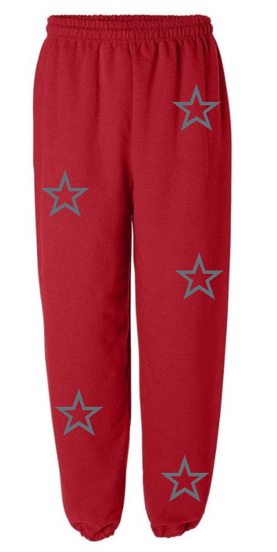 Red Sweatpants with Grey Stars