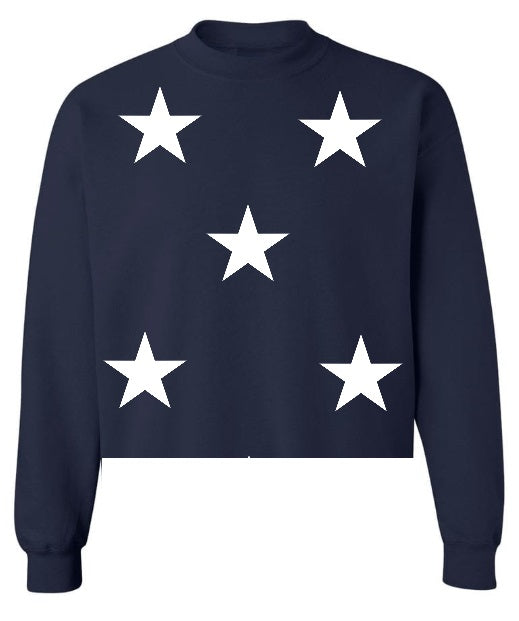 Star Power Navy Raw Hem Cropped Sweatshirt with White Stars
