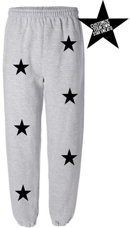 Custom Grey Star Sweatpants- Customize Your Star Color!