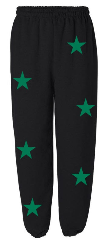 Star Power Black Sweatpants with Green Stars