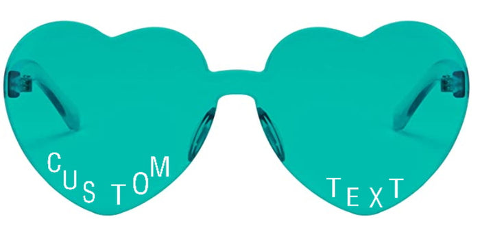 Custom Text Teal Heart Shaped Candy Colored Sunglasses