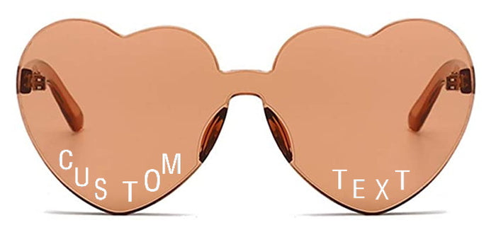 Custom Text Brown Heart Shaped Candy Colored Sunglasses