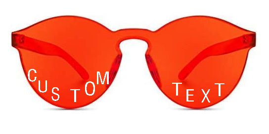 Custom Text Red Frameless Sunglasses
