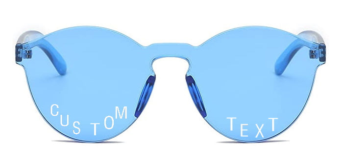 Custom Text Blue Frameless Sunglasses