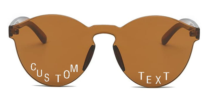 Custom Text Brown Frameless Sunglasses