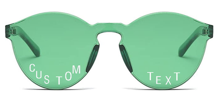 Custom Text Green Frameless Sunglasses