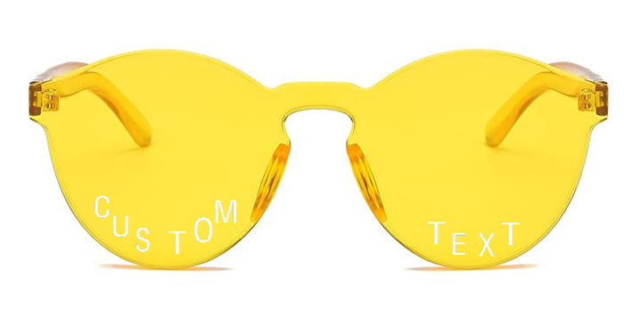 Custom Text Yellow Frameless Sunglasses