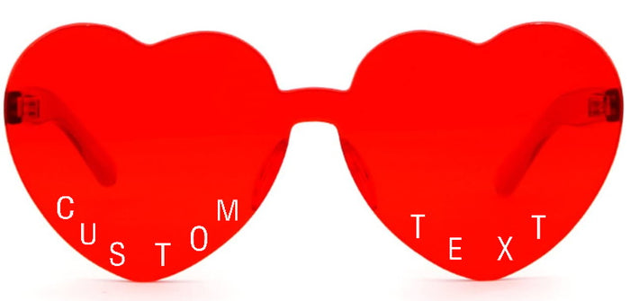 Custom Text Red Heart Shaped Candy Colored Sunglasses