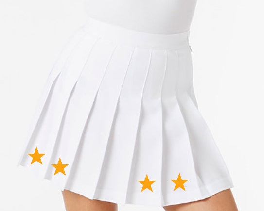 Athletic Gold Stars Classic White Pleated Cheer Skirt