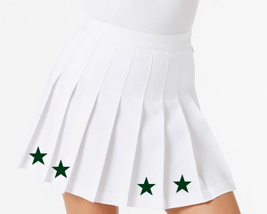 Forest Green Stars Classic White Pleated Cheer Skirt