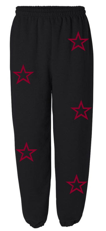 Black Star Sweatpants with Maroon Stars