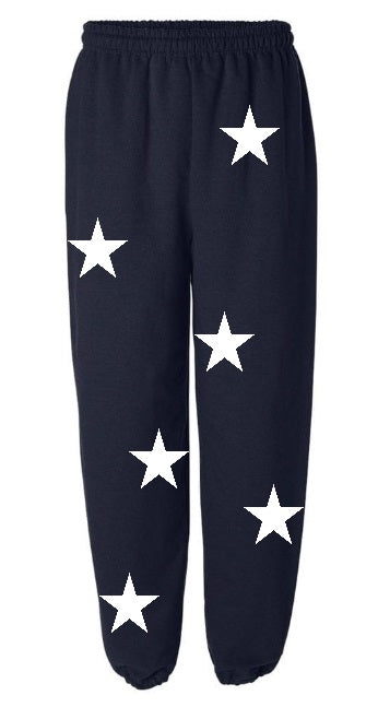 Star Power Navy Sweatpants with White Stars