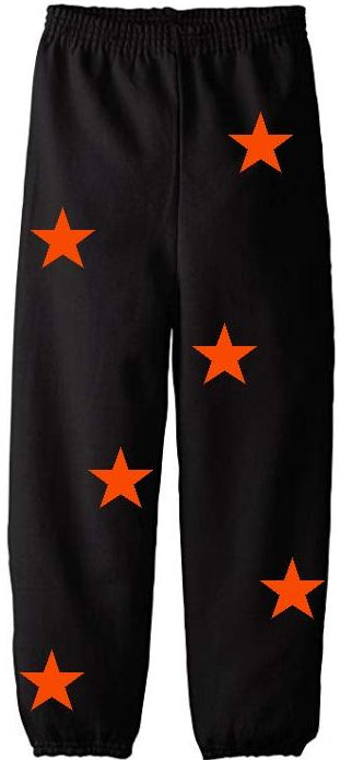 Star Power Black Sweatpants with Orange Stars