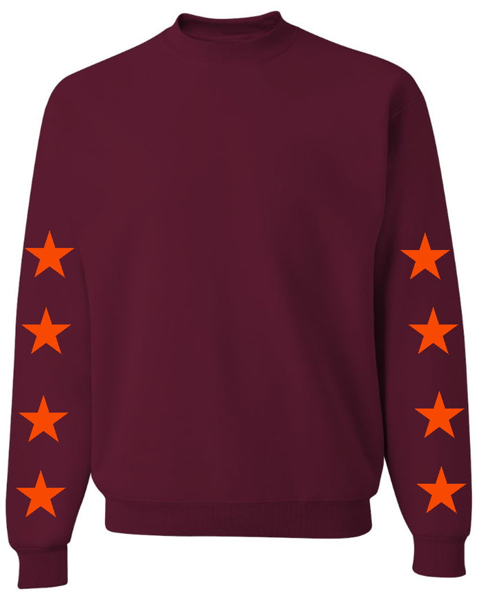 Star Power Maroon Sweatshirt with Orange Stars