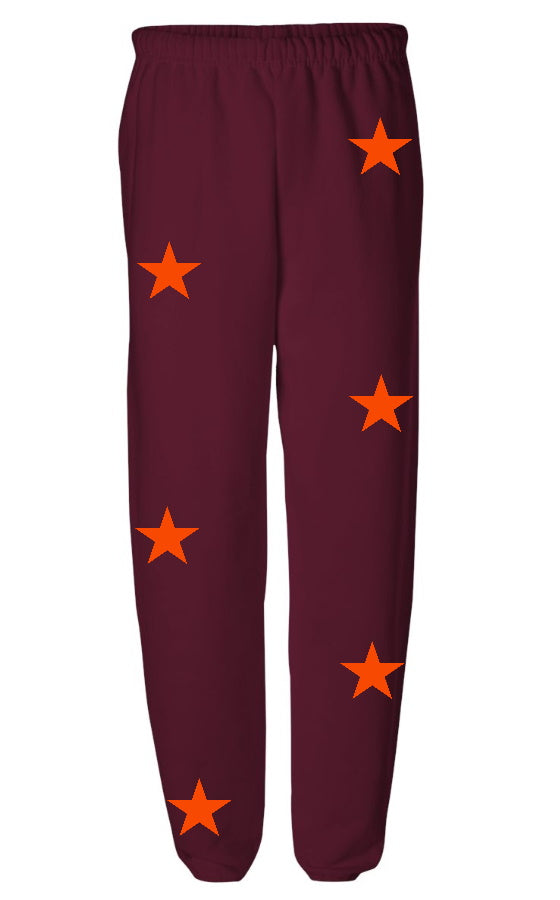 Star Power Maroon Sweatpants with Orange Stars
