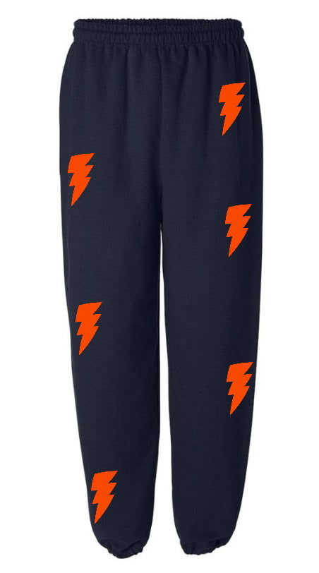 Lightning Bolts Navy Sweatpants with Orange Bolts