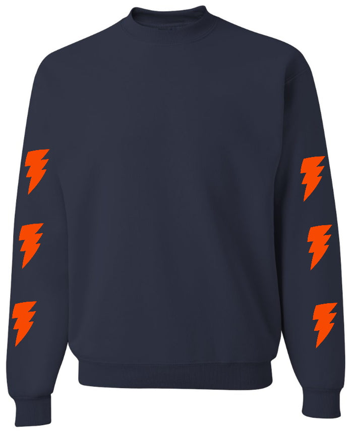 Lightning Bolts Navy Crew Neck Sweatshirt with Orange Bolts