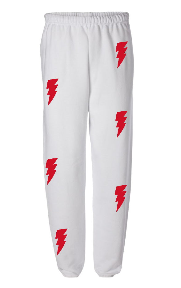 Lightning Bolts White Sweatpants with Red Bolts
