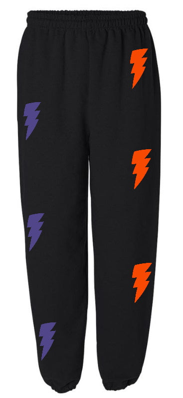 Lightning Bolts Black Sweatpants with Purple and Orange Bolts