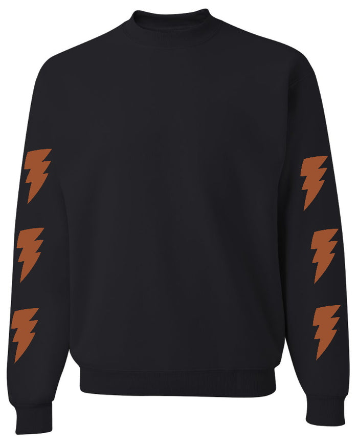 Lightning Bolt Black Crew Neck Sweatshirt with Dark Orange Bolts