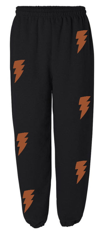 Lightning Bolt Black Sweatpants with Dark Orange Bolts