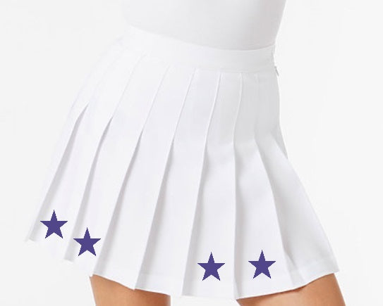 Purple Stars Classic White Pleated Cheer Skirt