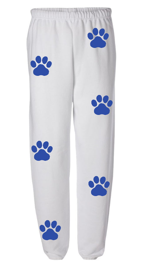 Paw Print White Sweatpants