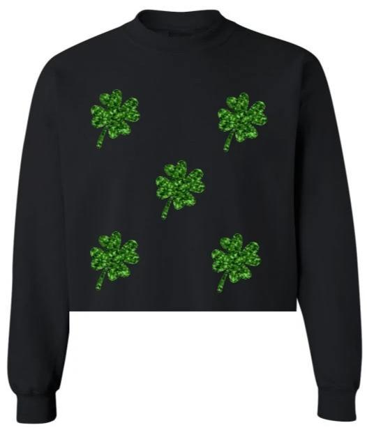Glitter Shamrocks Black Raw Hem Cropped Sweatshirt