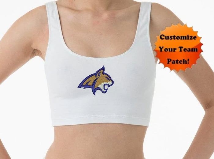 Custom Team Patch Cropped Erin Tank Crop Top (6 Colors Available)
