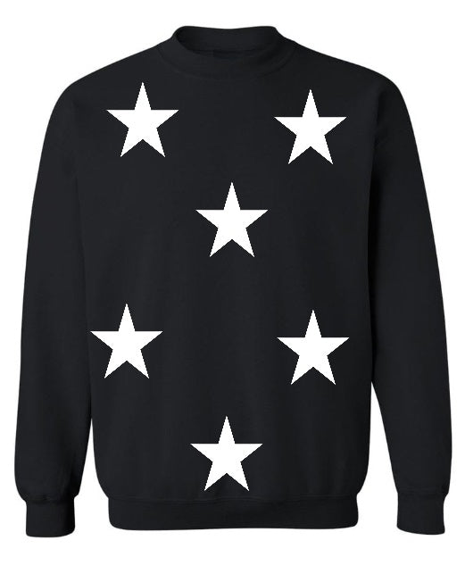 Star Power Black Crew Neck Sweatshirt with White Stars
