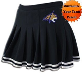 Custom Team Patch Sparkle Trim Pleated Cheer Skirt (Available in 7 Colors)