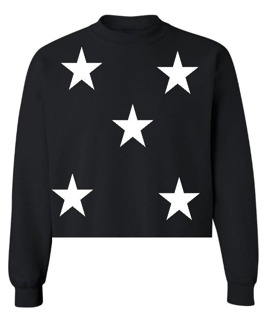 Star Power Black Raw Hem Cropped Sweatshirt with White Stars