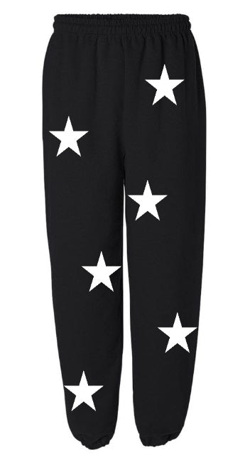 Star Power Black Sweatpants with White Stars