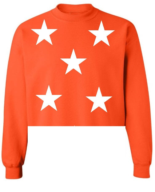 Star Power Orange Raw Hem Cropped Sweatshirt with White Stars