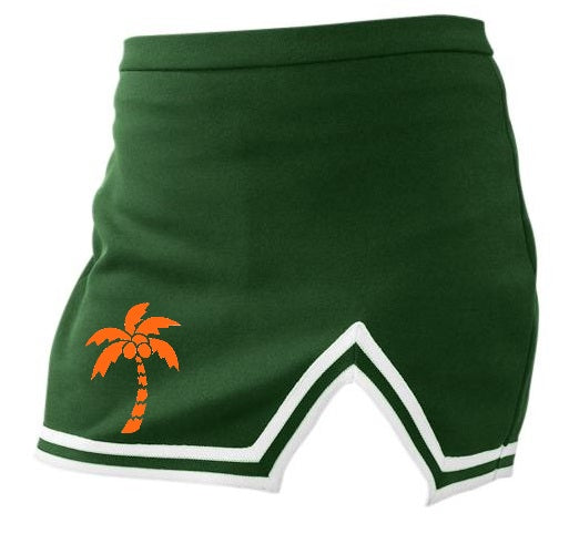 Palm Paradise Classic Green A-Line Notched Cheer Skirt