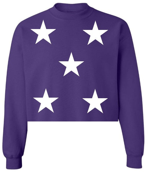 Star Power Purple Raw Hem Cropped Sweatshirt with White Stars