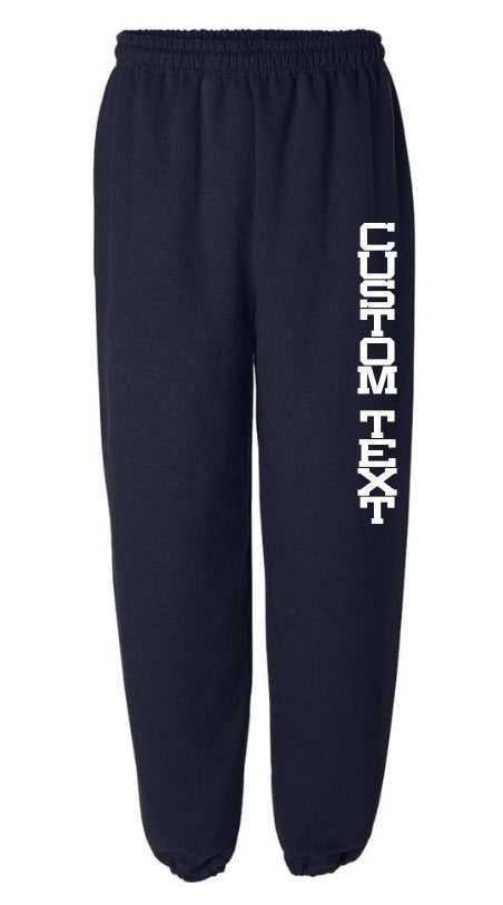 Custom Single Color Text Navy Sweatpants