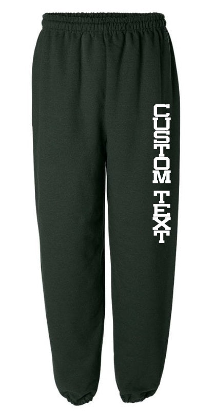 Custom Single Color Text Green Sweatpants